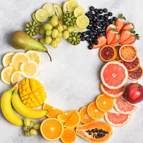 Kreis aus verschiedenen Obstsorten